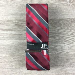 JF J. Ferrar Red & Maroon Striped Narrow Tie